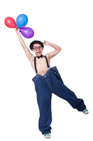 Funny man with balloons on white photo