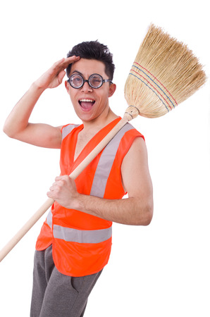 Funny janitor isolated on white Stock Photo - 22476022