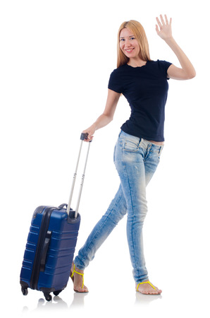 Woman preparing for vacation on white Stock Photo - 22476053