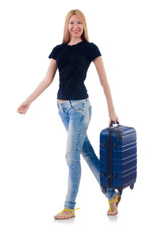 Woman preparing for vacation on white Stock Photo - 22476051