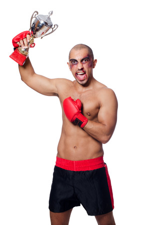 badly: Badly beaten boxer isolated on white