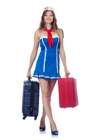 Woman travel attendant with suitcase on white Stock Photo - 22454739