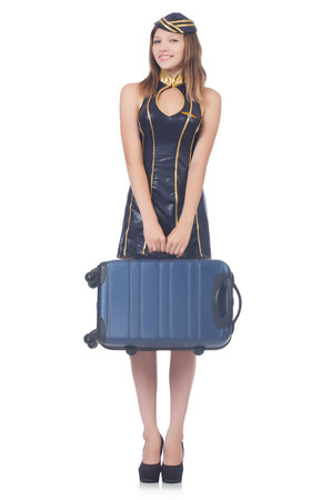 Woman travel attendant with suitcase on white Stock Photo - 22476056