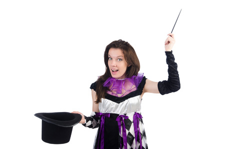 Woman magician isolated on the white Stock Photo - 22476055
