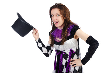 Woman magician isolated on the white Stock Photo - 22476052