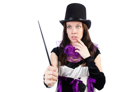 Woman magician isolated on the white Stock Photo - 22476059