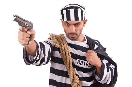 Prisoner with gun isolated on white Stock Photo - 22476058