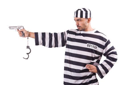 Prisoner with gun isolated on white Stock Photo - 22476057