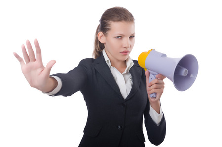 Woman with loudspeaker on white Stock Photo - 22476068