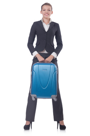 Businesswoman travelling isolated on white Stock Photo - 22476066