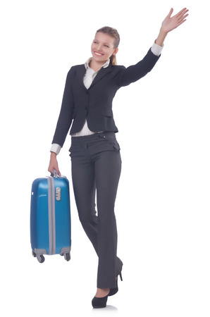 Businesswoman travelling isolated on white Stock Photo - 22476065