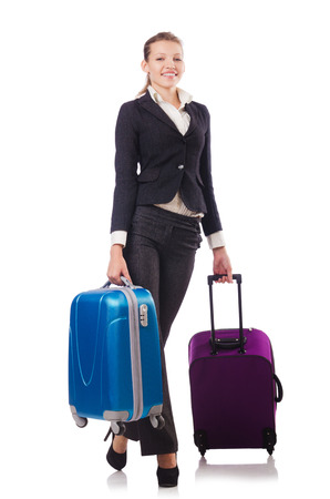 Businesswoman travelling isolated on white Stock Photo - 22476071