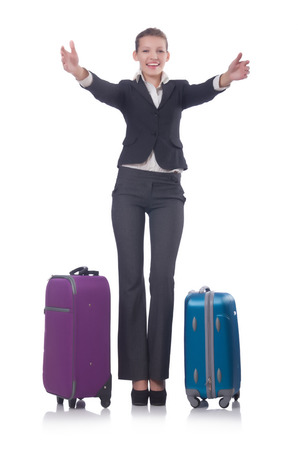 Businesswoman travelling isolated on white Stock Photo - 22476073