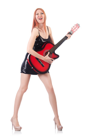 Female guitar performer isolated on white Stock Photo - 22476076