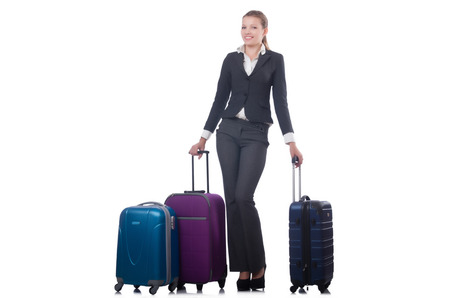 Businesswoman travelling isolated on white Stock Photo - 22476077