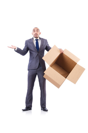 Businessman with box isolated on the white Stock Photo - 22476078