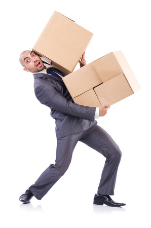 Businessman with box isolated on the white Stock Photo - 22476082
