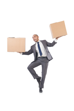 Businessman with box isolated on the white Stock Photo - 22476083