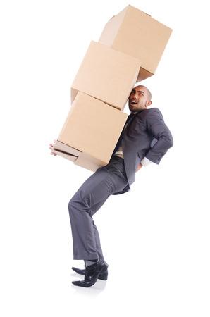 Geschäftsmann mit Box isoliert auf den weißen Standard-Bild