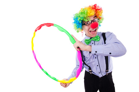Funny clown with hula hoop on white Stock Photo - 22542088