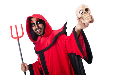 Man devil in red costume photo