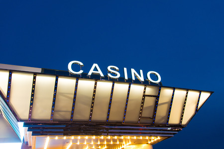 Casino entrance at evening time photo