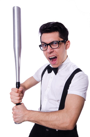 Funny man with baseball bat photo