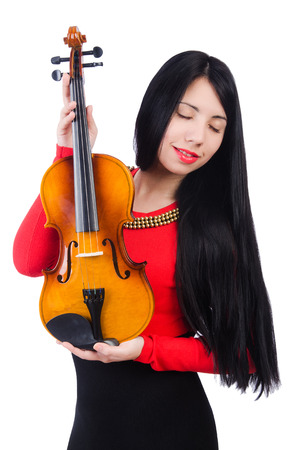 solo violinist: Young girl with violin on white Stock Photo