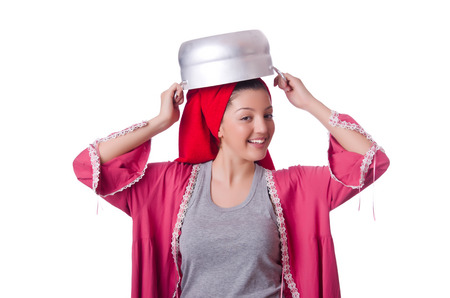 Housewife with pot isolated on the white photo