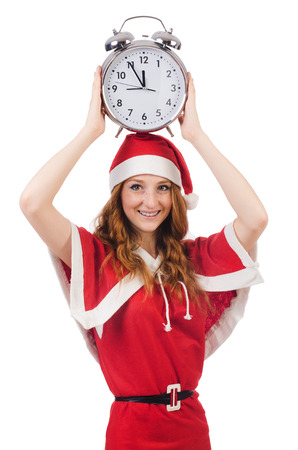 Snow girl with clock on white photo