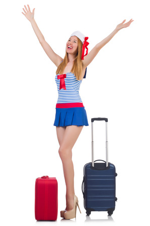 Woman travel attendant with suitcase on white Stock Photo - 22581410