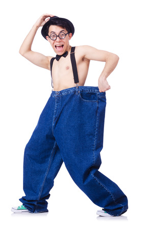 Funny man with trousers isolated on white Stock Photo - 22581463