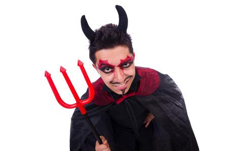 Man in devil costume in halloween concept photo