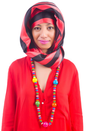 Woman in red scaf on white Stock Photo - 22581682