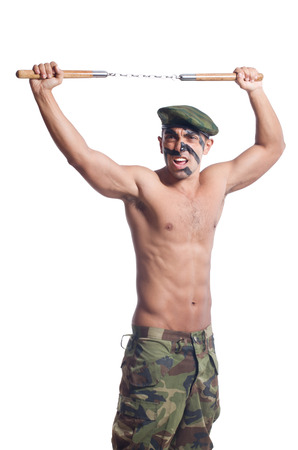 nunchaks: Soldier isolated on the white background