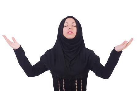 fille arabe: Femme musulmane priant isolé sur blanc Banque d'images