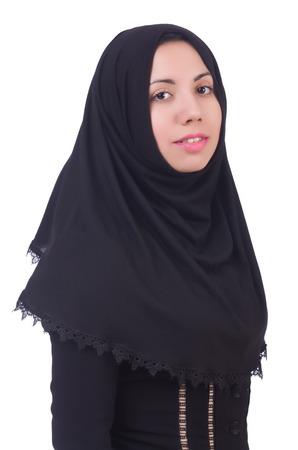 burqa: Muslim woman praying isolated on white