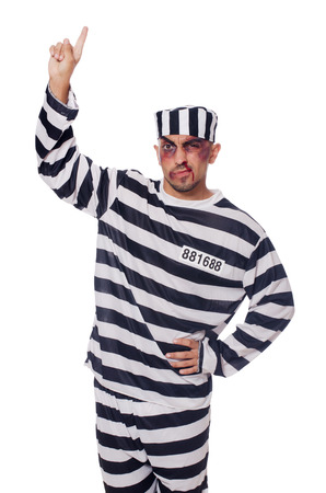 Prisoner with bad bruises on white Stock Photo - 22581987