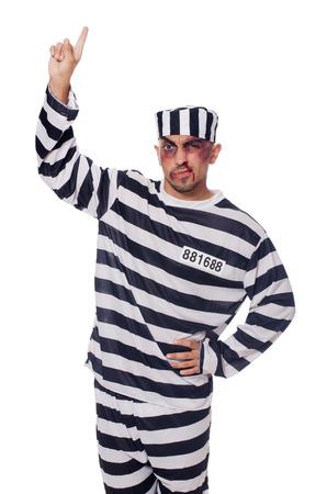 Prisoner with bad bruises on white Stock Photo - 22581987