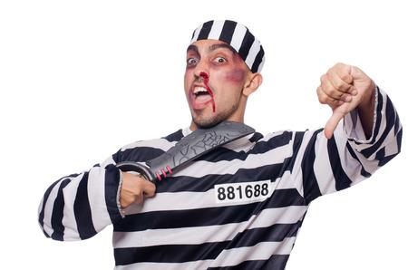 Prisoner with knife isolated on white Stock Photo - 22581988