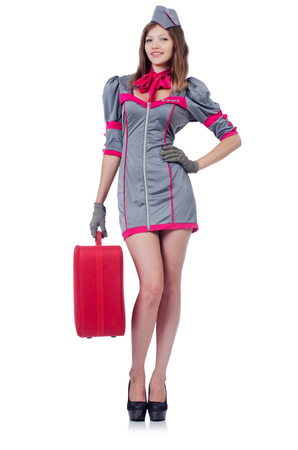 Woman travel attendant with suitcase on white Stock Photo - 22582067