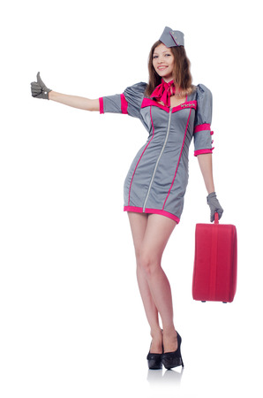 Woman travel attendant with suitcase on white Stock Photo - 22582070