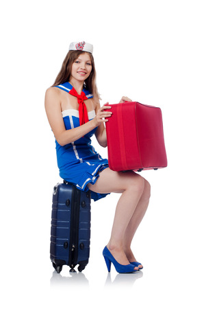 Woman travel attendant with suitcase on white Stock Photo - 22582084