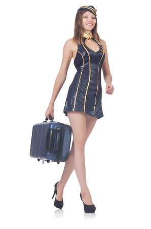 Woman travel attendant with suitcase on white Stock Photo - 22582092