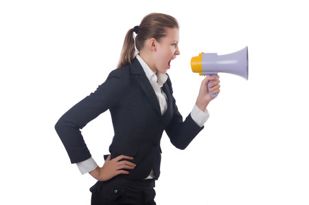 Woman with loudspeaker on white Stock Photo - 22582099