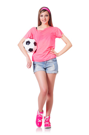Woman with football on white photo