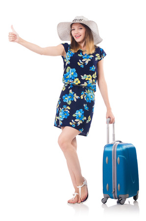 Woman with suitcases isolated on white Stock Photo - 22939878