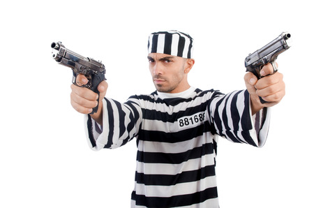 Prisoner with gun isolated on white Stock Photo - 22940064