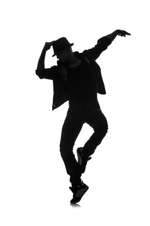 male dancer: silhouette of male dancer isolated on white Stock Photo