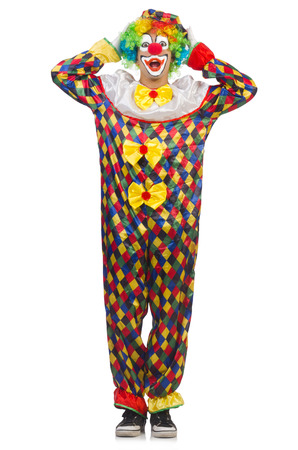 Funny clown isolated on white photo